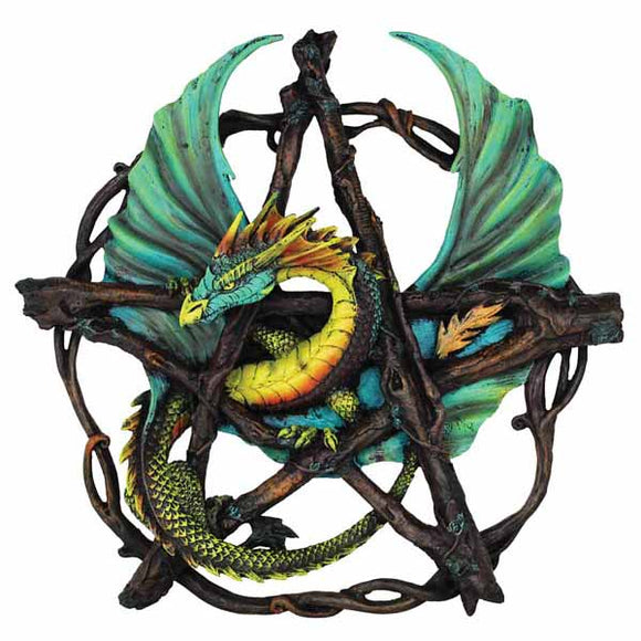 Forest Pentacle Dragon Cold-Cast Resin Wall Plaque 13