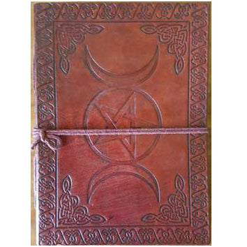 Celtic Knot Triple Moon & Pentacle Embossed Leather Unlined Journal with Cord :: Mental XS Online