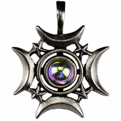 Crescents Rising Celestial Amulet Pewter Pendant (has cord) :: Mental XS Online