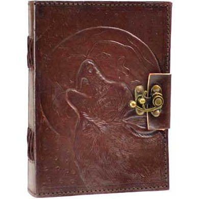 Wolf Moon Embossed Leather Unlined Journal with Latch (7