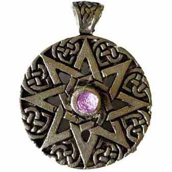 Star of Ur 8-Pointed Amulet with Gemstone Pewter Pendant (has cord)