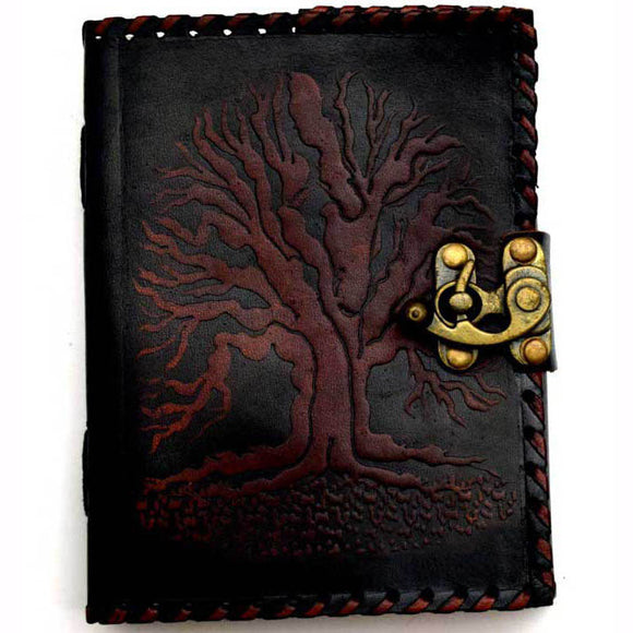 Black Tree of Life Embossed Leather Unlined Journal with Latch (7
