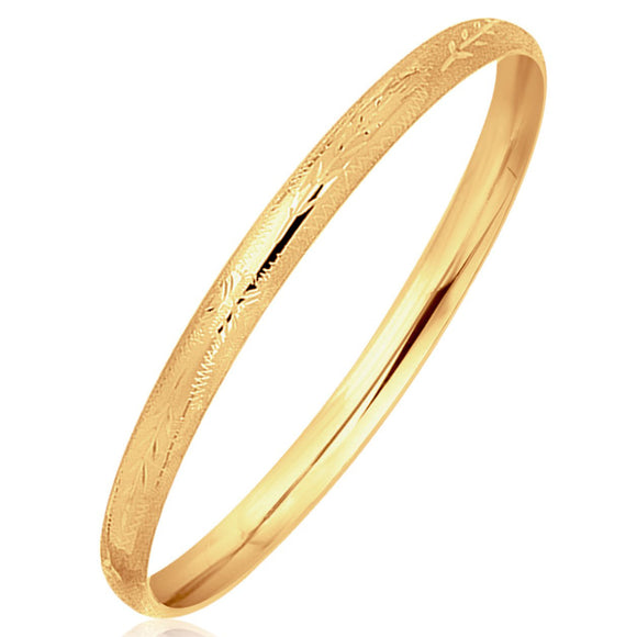 14K Yellow Gold Dome Style Children's Bangle with Diamond Cuts - Fine Jewelry from Hamunaptra NY :: Exclusively at Mental XS Online