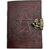 "Brown Pentacle with Celtic Knotwork Embossed Leather Unlined Journal with Latch (7"" x 5"") :: Mental XS Online"