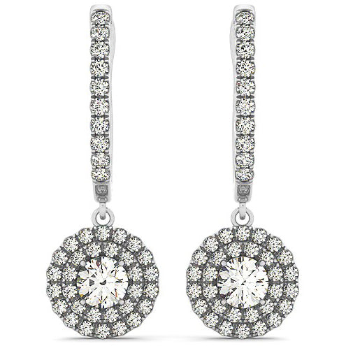 14K White Gold Double Halo Round 1 ct Diamond Drop Earrings