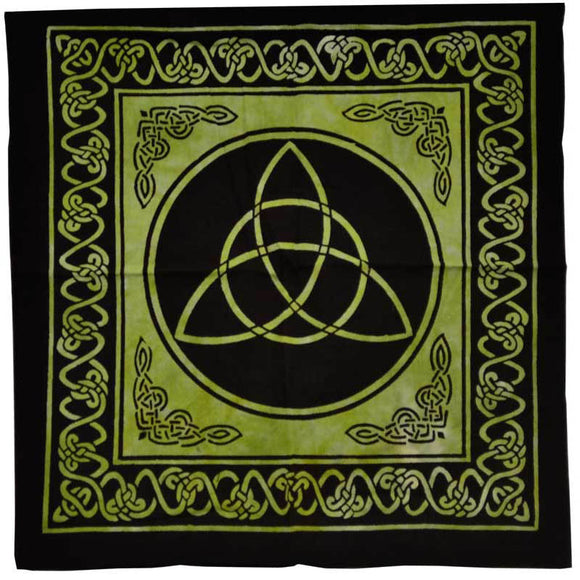 Green & Black Triquetra with Celtic Knotwork Cotton Tote Bag 18