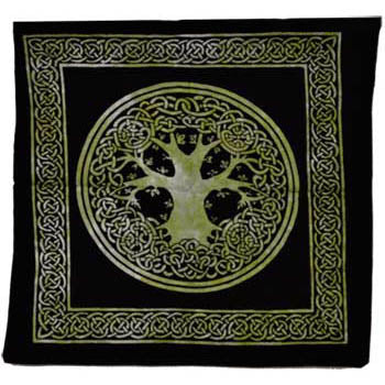 Green & Black Tree of Life with Celtic Knotwork Tie-dyed Cotton Tote Bag 18