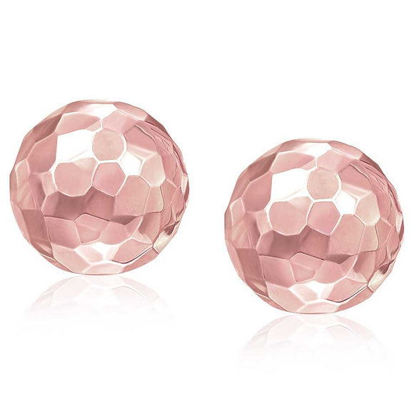 14K Rose Gold Round Faceted Style Stud Earrings