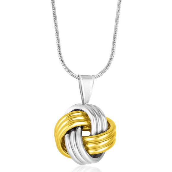 14K Gold & Sterling Silver Pendant in a Ridge Texture Love Knot Style