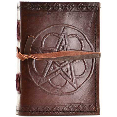 Pentacle & Flower Embossed Leather Unlined Journal with Cord (5