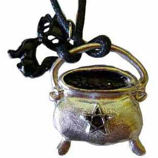 Cauldron with Star & Black Cat Amulet Pewter Pendant (has cord)