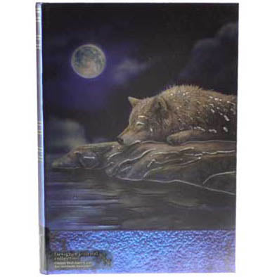 Quiet Reflection Wolf Moon Embossed Hardcover Unlined Journal (7