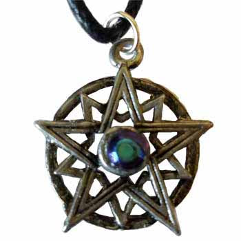 Double Pentacle with Blue Gemstone Amulet Pendant (has cord) :: Mental XS Online