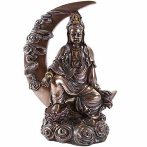 Guanyin Goddess of Compassion Cold-Cast Bronze Statue 8¼""
