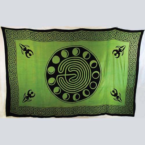 Green & Black Moon Phase Tapestry 72