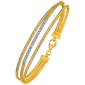 14K Three-Part Gold and 1pt Diamond Bangle Bracelet with Clasp (1/5 ct. tw.) - Fine Jewelry from Hamunaptra NY :: Exclusively at Mental XS Online