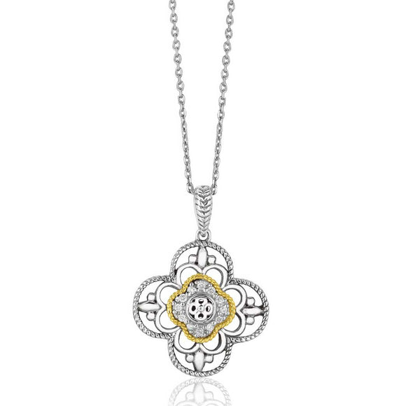 14K Gold & Sterling Silver Gothic Floral Pendant with Diamonds