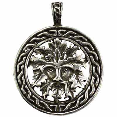 Celtic Green Man Amulet Pewter Pendant (has cord) :: Mental XS Online