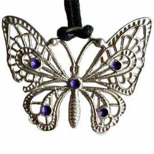 Butterfly with Purple Gemstones Pewter Pendant (has cord) :: Mental XS Online
