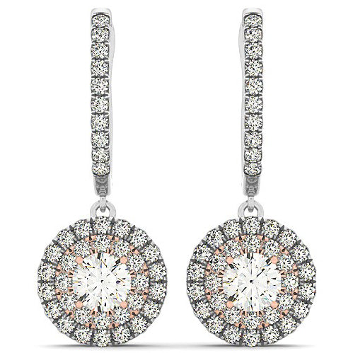14K White And Rose Gold 3/4 ct Diamond Double Halo Drop Earrings