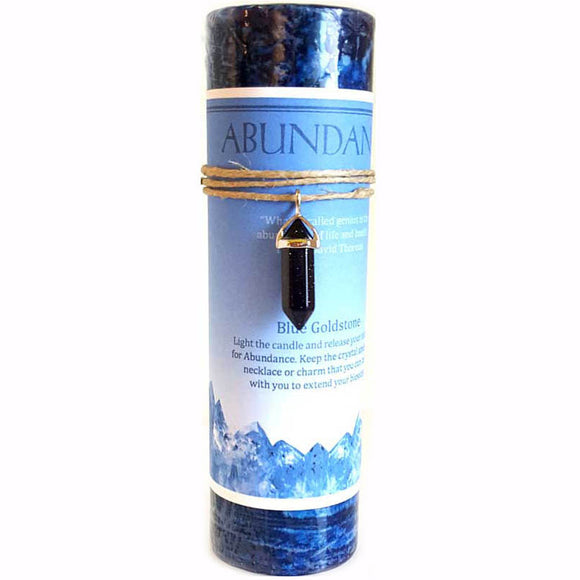 Blue Abundance Pillar Candle with Blue Sandstone Pendant 6¼