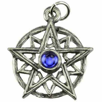 Endless Light Double Pentacle with Blue Gemstone Talisman Pewter Pendant (has cord) :: Mental XS Online