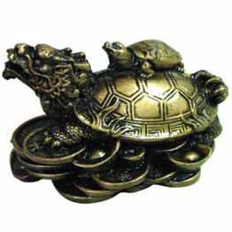 Money Turtle Cold-Cast Resin Totem Figure 2½
