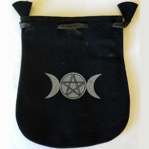 Triple Moon & Pentacle Velveteen Black Bag 5""