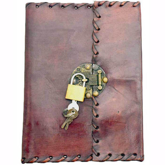Stitched Leather Unlined Journal with Lock & Key (7