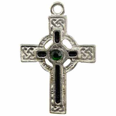 Black Enameled Celtic Cross with Gem Amulet Pewter Pendant (has cord) :: Mental XS Online
