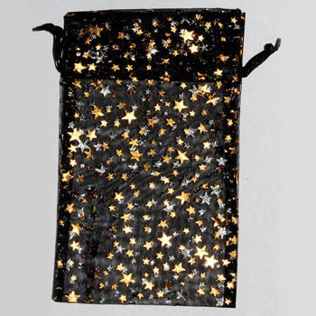 Black organza pouch with Gold Stars 4