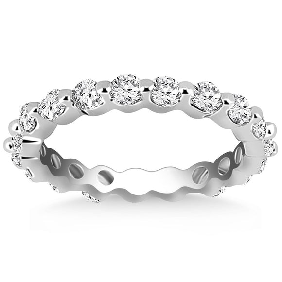 14K White Gold Common Prong Round Cut 0.95 ct Diamond Eternity Ring