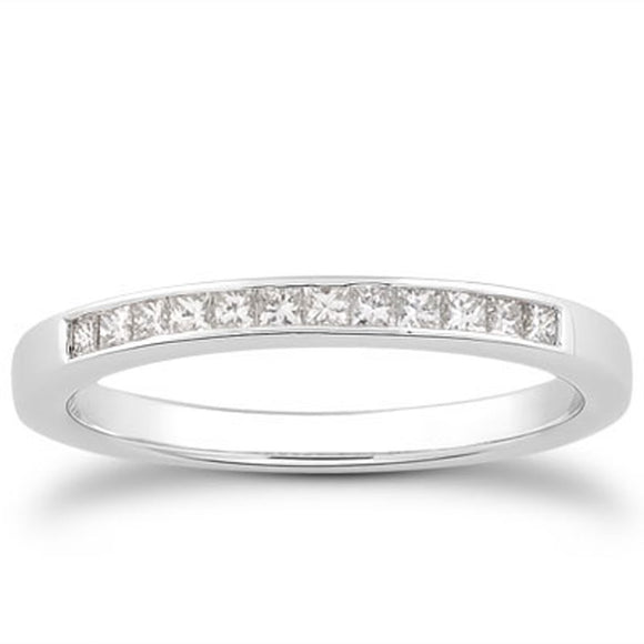 14K White Gold Channel Set Princess 0.21 ct Diamond Wedding Ring