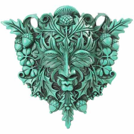 Green Man Cold-Cast Resin Wall Plaque 12
