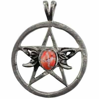 Triple Moon & Pentacle Spell with Gem Amulet Pendant (has cord) :: Mental XS Online