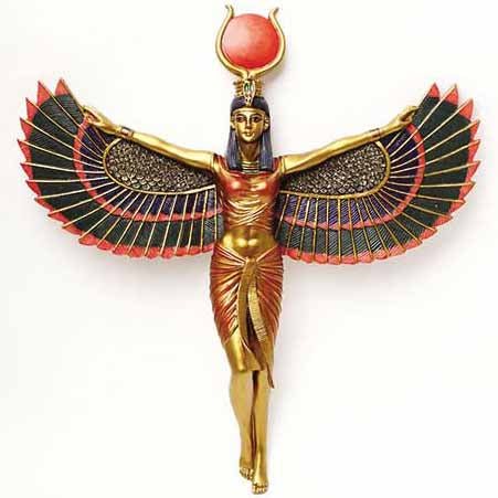Egyptian Goddess Isis with Open Wings Cold-Cast Resin Wall Plaque 12¼