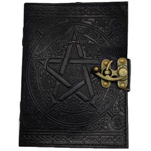 "Black Pentacle with Celtic Knotwork Embossed Leather Unlined Journal with Latch (7"" x 5"") :: Mental XS Online"