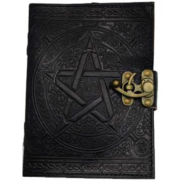 Black Pentacle with Celtic Knotwork Embossed Leather Unlined Journal with Latch (7