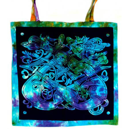 Black Stencil Tie-dyed Celtic Dragon Tote Bag 18