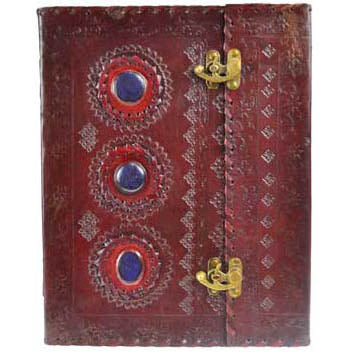 Triple Gemstone Embossed Leather Unlined Journal with Latch (13
