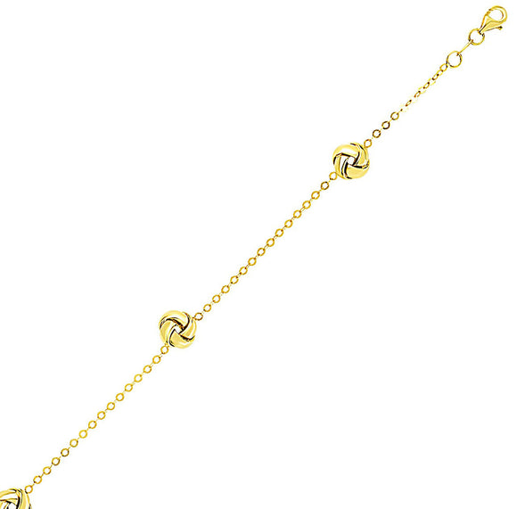 14K Yellow Gold Shiny Love Knot Station Chain Bracelet - Fine Jewelry from Hamunaptra NY :: Exclusively at Mental XS Online