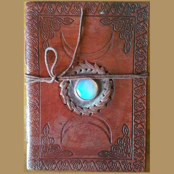 Celtic Knot Triple Moon with Gemstone Embossed Leather Unlined Journal with Cord :: Mental XS Online