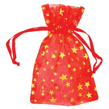 Red organza pouch with Gold Stars 2.75