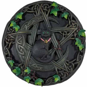 Cat with Pentacle & Crescent Moon Wall Plaque 7½""