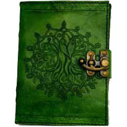 Green Tree of Life Embossed Leather Unlined Journal with Latch (7