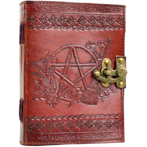 Pentacle Embossed Leather Unlined Journal with Latch (7
