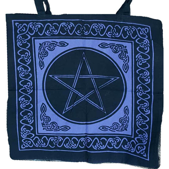 Blue Pentacle with Celtic Knotwork Cotton Tote Bag 18