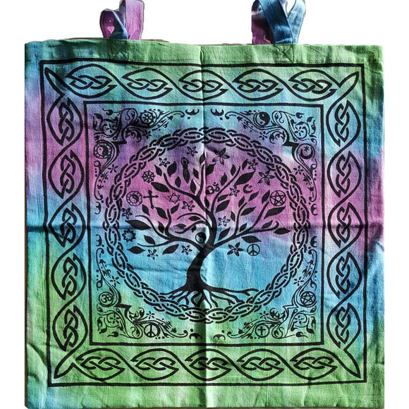 Tree of Life Coexist with Celtic Knotwork Tie-dyed  Cotton Tote Bag 18