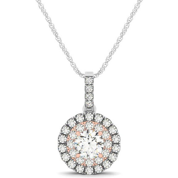 14K White and Rose Gold Round Shape Halo 1/2 ct Diamond Pendant