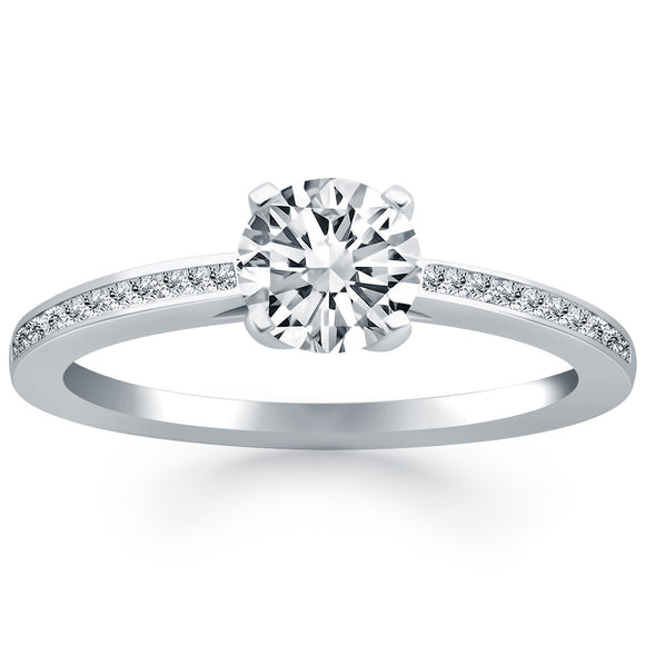 14K White Gold 0.5 ct Diamond Channel Set Cathedral Engagement Ring